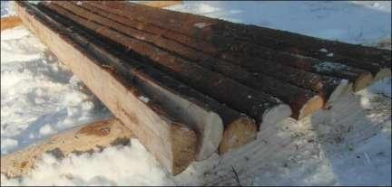 Halve rafter med bark