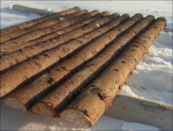 Delte eller flækkede Gran rafter - SkovTrup lagerbillede
